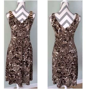 TALBOTS Brown Floral Wrap V-Neck Beaded Dress